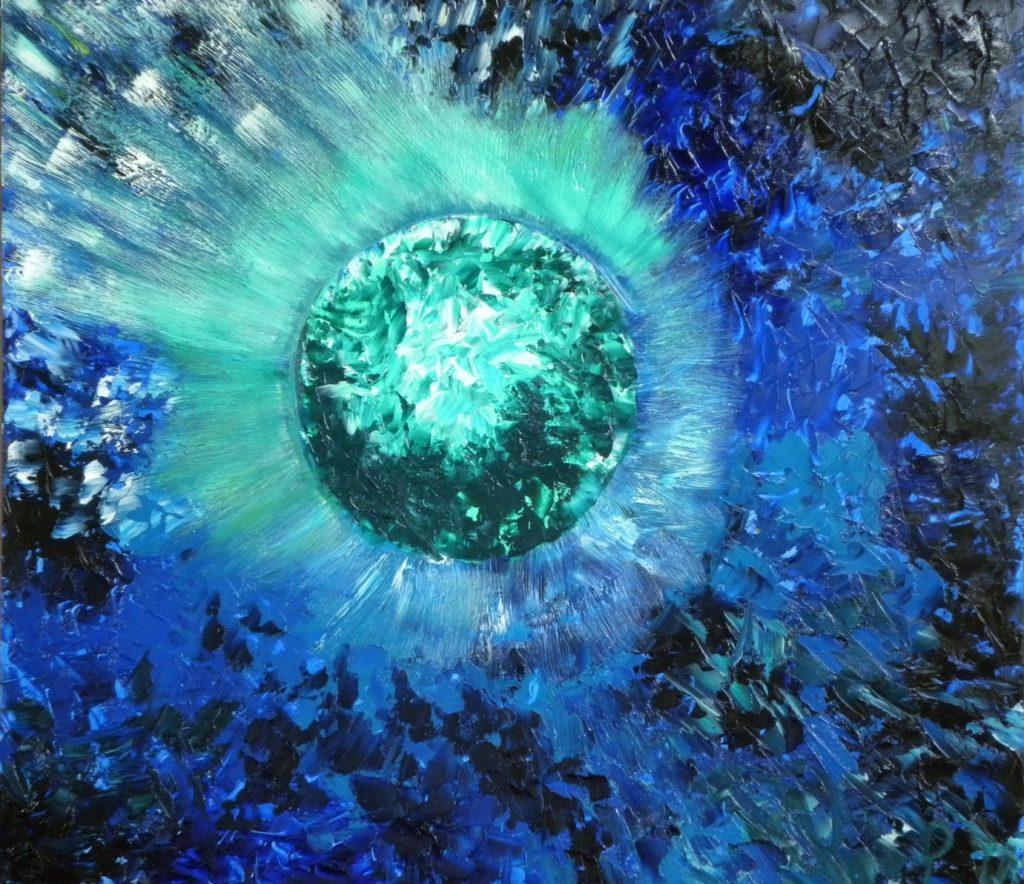 Blauwe diamant: 76 cm hoog – 85 cm breed, olieverf op paneel € 475,- (verkocht)