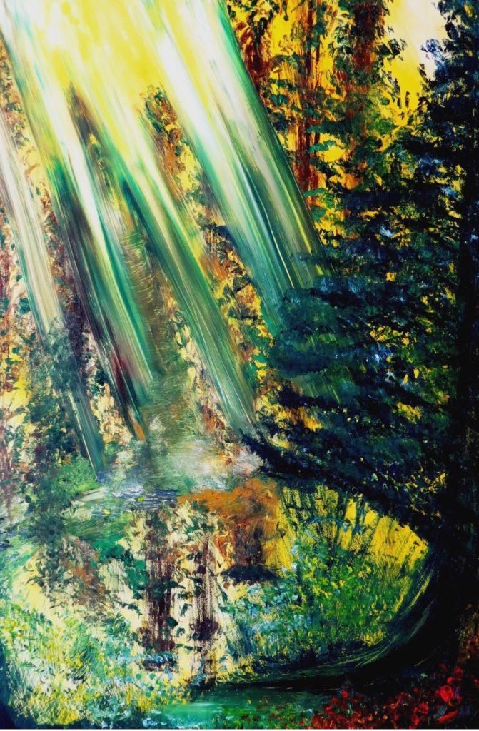 Groen: Dit olieverf schilderij is geschilderd op een MDF paneel. Het schilderij is 122 cm breed bij 84 cm hoog. € 575,-