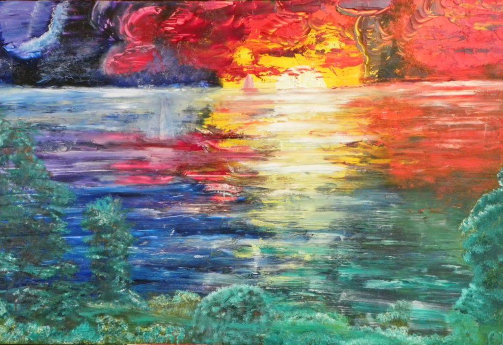 Zonsondergang, Olieverf op paneel, 122-84 cm € 575,-